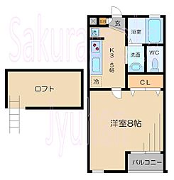東京都目黒区平町1丁目の賃貸アパートの間取り