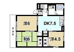 ハイム櫟B[1階]の間取り
