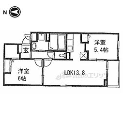 阪急京都本線 西山天王山駅 徒歩19分の賃貸アパート 2階2LDKの間取り