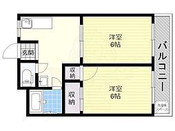 南海高野線 大阪狭山市駅 徒歩11分の賃貸アパート 2階2DKの間取り