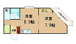 兵庫県神戸市中央区神若通6丁目の賃貸マンションの間取り