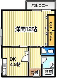 M[1DK号室]の間取り