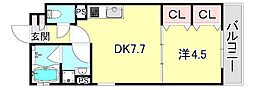 KTIレジデンス上沢II 1階1DKの間取り
