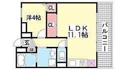 兵庫県神戸市中央区宮本通4丁目の賃貸マンションの間取り