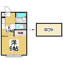扇ハイツ3[2階]の間取り