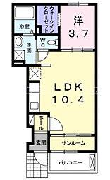広島電鉄宮島線 草津駅 徒歩6分の賃貸アパート 1階1LDKの間取り