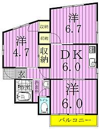 コーポ田中[301号室]の間取り