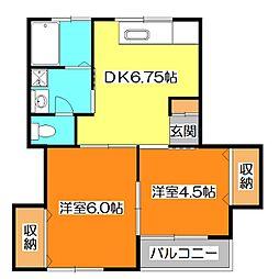富士見ハイツ[1階]の間取り