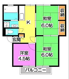 第二ヴィラ坂井[2階]の間取り
