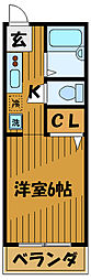 東京都国分寺市東戸倉の賃貸アパートの間取り