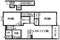 大阪府岸和田市上町の賃貸アパートの間取り