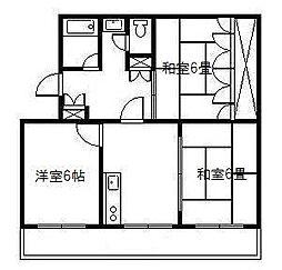花ヶ島コーポ[4号室]の間取り