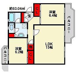 本城中央団地400棟 リノベーション物件[3階]の間取り