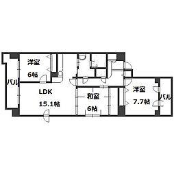 北海道札幌市中央区南一条西13丁目の賃貸マンションの間取り