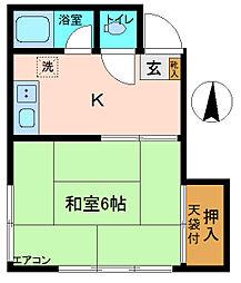 石川荘[202号室]の間取り