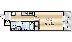 Osaka Metro御堂筋線 西田辺駅 徒歩2分の賃貸マンション 4階1Kの間取り