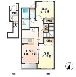 平井新築 スターテラス B[202号室]の間取り