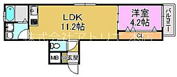 (仮称)東大阪市稲田上町1丁目計画 2階1LDKの間取り