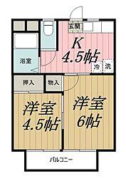 千葉県千葉市中央区椿森4丁目の賃貸アパートの間取り