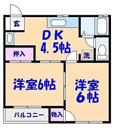 リバティープラザA〜D[A103号室]の間取り