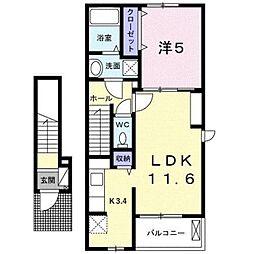 伊予鉄道横河原線 愛大医学部南口駅 徒歩9分の賃貸アパート 2階1LDKの間取り