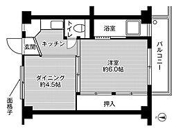 ビレッジハウス城蓮寺6号棟5階Fの間取り画像