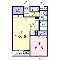 TSU・BA・KI B棟 2階1LDKの間取り