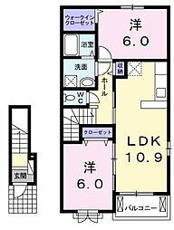 ブライト・ヒルサイドKI[2階]の間取り