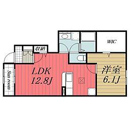 JR総武本線 佐倉駅 徒歩8分の賃貸アパート 1階1LDKの間取り