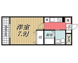 京成本線 公津の杜駅 徒歩13分の賃貸マンション 2階1Kの間取り