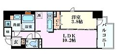 Osaka Metro御堂筋線 淀屋橋駅 徒歩8分の賃貸マンション 4階1LDKの間取り