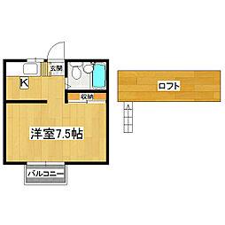 桂コーポ高津B棟[1階]の間取り