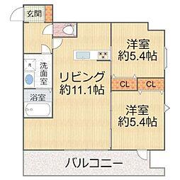 W.O.B.KYOBASHI(ウォブキョウバシ) 9階2LDKの間取り