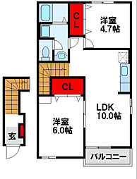 ファミーユM A棟[2階]の間取り