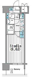 東京メトロ有楽町線 新富町駅 徒歩4分の賃貸マンション 4階1Kの間取り