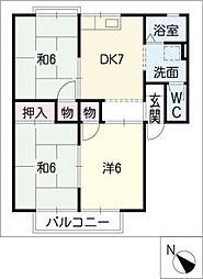 パークハイツA棟[1階]の間取り