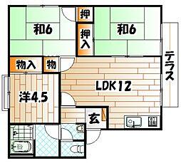 リゾット花房B棟[1階]の間取り