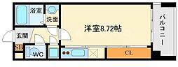 フォレステージュ江坂公園 5階ワンルームの間取り