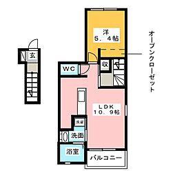 愛知県名古屋市中川区大塩町2の賃貸アパートの間取り