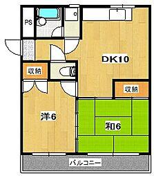 鮎川マンション[3階]の間取り