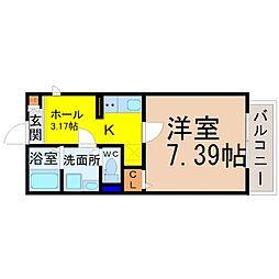 名古屋市営鶴舞線 庄内通駅 徒歩4分の賃貸アパート 1階1SKの間取り