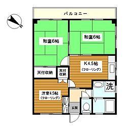 神奈川県横浜市旭区白根1丁目の賃貸マンションの間取り