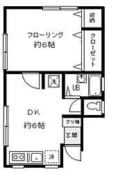 東京都渋谷区本町3丁目の賃貸アパートの間取り