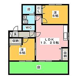 サンファミリー B棟[1階]の間取り