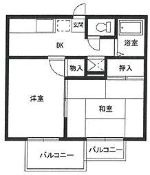 南塚口ハイツ[2階]の間取り