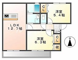 兵庫県神戸市垂水区西舞子6丁目の賃貸アパートの間取り