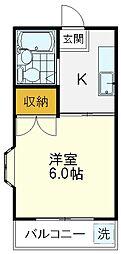 西武国分寺線 鷹の台駅 徒歩10分の賃貸アパート 2階1Kの間取り