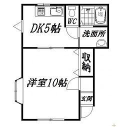 静岡県浜松市中区成子町の賃貸アパートの間取り