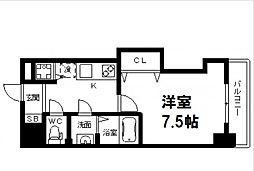 Luxe花園 9階1Kの間取り
