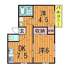 千葉県柏市増尾8丁目の賃貸アパートの間取り